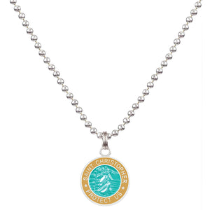 Saint Christopher Small Medal - Aqua/Sand