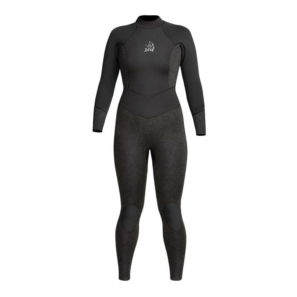 Xcel Water Inspired Dive Axis Womens 3/2mm Fullsuit - Black/Black Mapping - Seaside Surf Shop