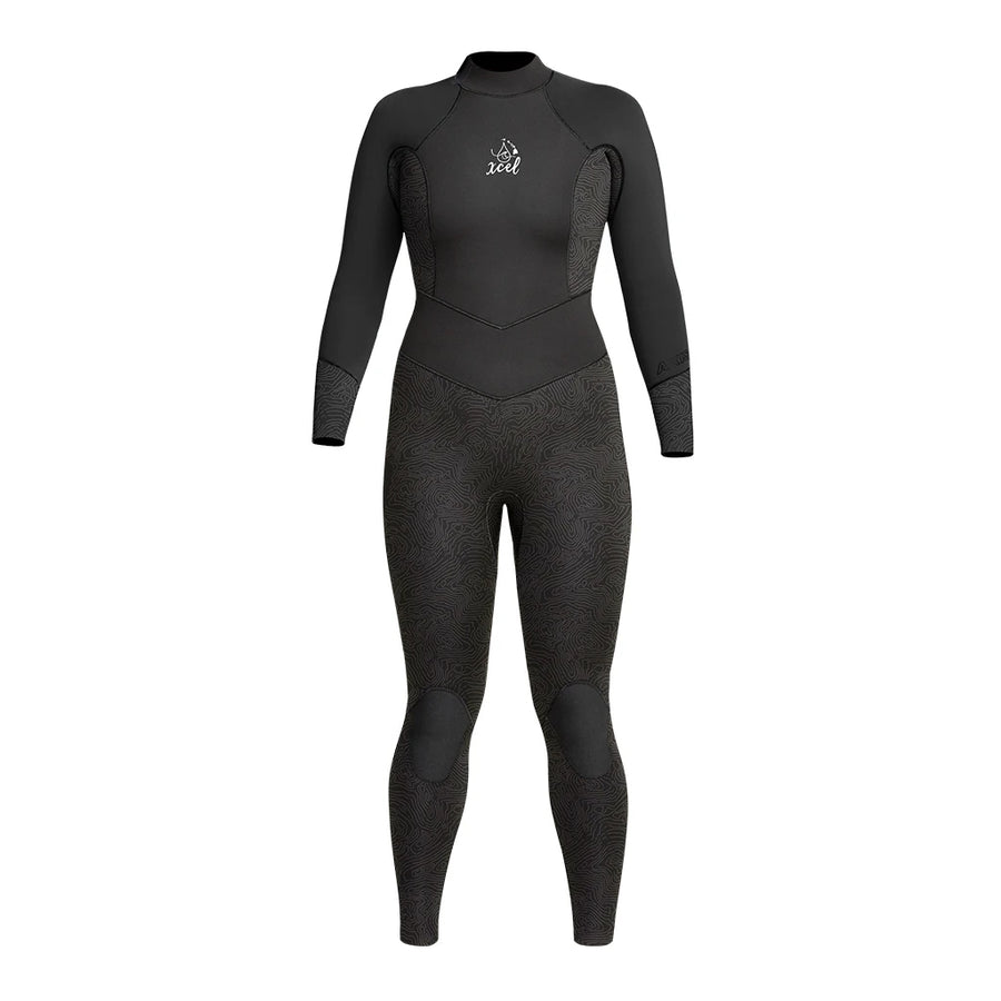 Xcel Water Inspired Dive Axis Womens 3/2mm Fullsuit - Black/Black Mapping