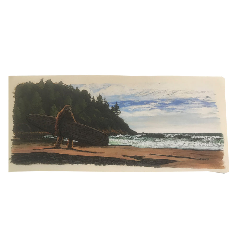 Bigfoot Surfs!  Sticker - 7x3""