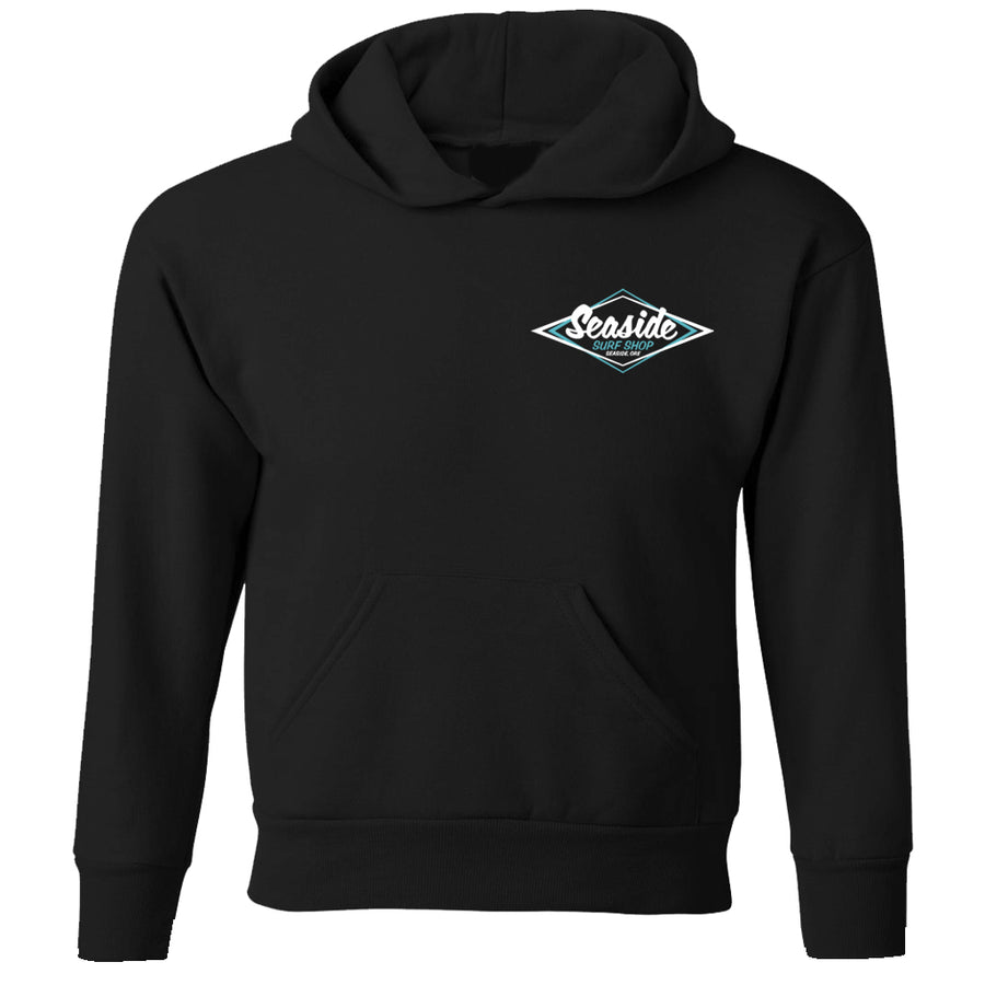 Seaside Surf Shop Youth Vintage Logo Pullover Hoody - Black
