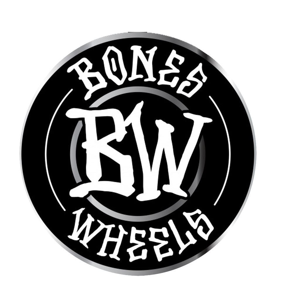"Bones Wheels Branded 6"" Sticker - Metallic Black - Seaside Surf Shop"