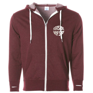 Seaside Surf Shop Unisex Gumball Zipped Hoody - Burgundy Heather-Seaside Surf Shop-Seaside Surf Shop