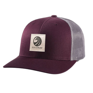 Seaside Surf Shop New Wave Logo Patch Cap - Burgundy/Charcoal, Apparel Accessories, Seaside Surf Shop, Snapback, New Trucker with pre curved bill made with cotton twill & mesh. This snapback cap fits mosts and features our newest woven label patch with new wave triple SSS logo. Seaside Surf Shop....lives forever.