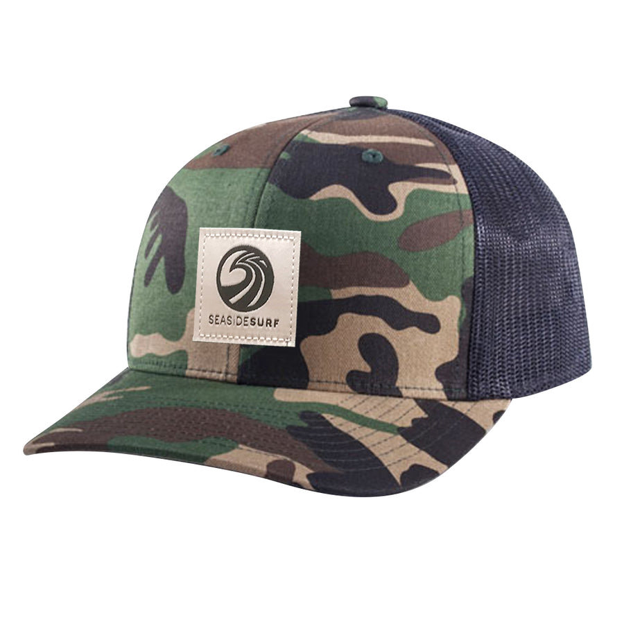 Seaside Surf Shop New Wave Logo Patch Cap - Camo/Black
