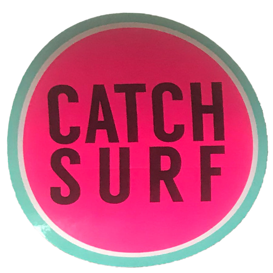 "Catch Surf Circle Sticker - 4""x4"" Pink/Turquoise"