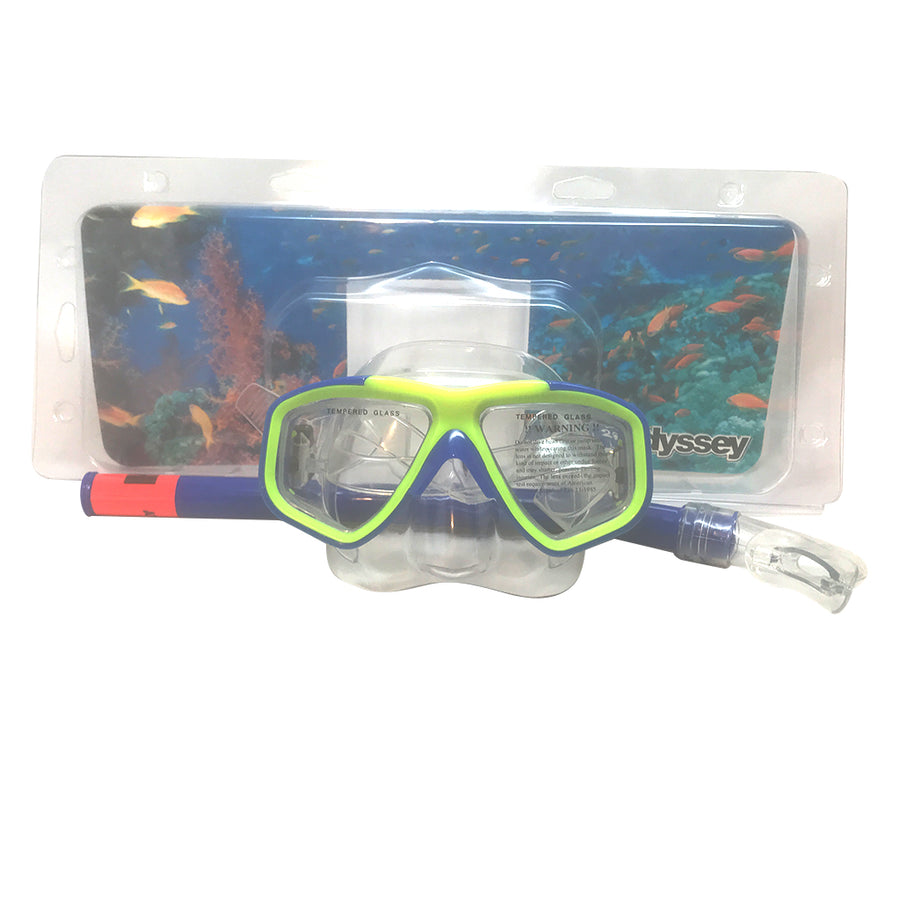 H2Odyssey Child Mask and Snorkel Combo Set - Blue/Yellow, Recreation, H20 Oddysey, Snorkel, Childs Mask & Snorkel Combo Set C-7 Blue/Yellow Product Features Good quality tempered glass lens Double feather-edged face skirt for comfort and positive seal Adjustable mask strap for proper fit 1 year warranty