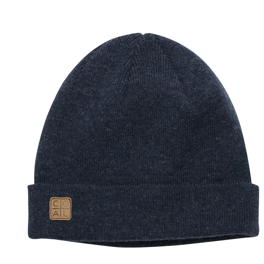 Coal Harbor Rib Knit Fisherman Beanie - Heather Navy, Apparel Accessories, Coal Headwear, Beanies, A traditional fine-knit beanie made versatile with two suede labels. Wear it classically cuffed for a low-profile fit or unrolled for more coverage on the coldest days.Fit: Low profile.Material: Fine acrylic.Fine rib knit.Leather patch on each side of cuff.Wear cuffed or unrolled.