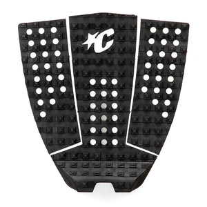 Creatures Icon Pin Traction Pad - Black, Surf Accessories, Creatures of Leisure, Creatures of Leisure, Traction Pads, Mick Fanning's Signature 3-piece traction pad is designed with lightning speed surfing in mind. No dye cut holes for reliable all-over traction. 7mm Tear-Drop Arch with the Chisel Cut construction, Square-Loc traction pattern and 28mm Table Top kick. Also featuring 3M Adhesive backing and the exclusive Creatures lightweight premium EVA formula.