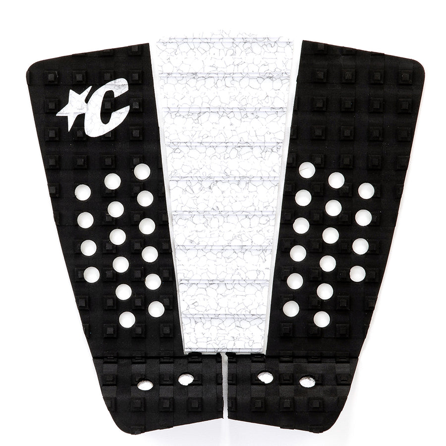 Creatures Mitch Coleborn Traction Pad - Black White Marble, Surf Accessories, Creatures of Leisure, Creatures of Leisure, Traction Pads, Mick Fanning's Signature 3-piece traction pad is designed with lightning speed surfing in mind. No dye cut holes for reliable all-over traction. 7mm Tear-Drop Arch with the Chisel Cut construction, Square-Loc traction pattern and 28mm Table Top kick. Also featuring 3M Adhesive backing and the exclusive Creatures lightweight premium EVA formula.