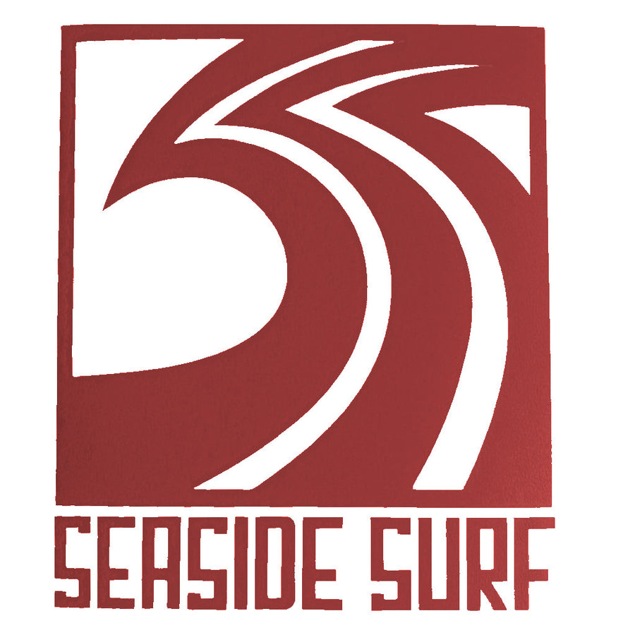 "Seaside Surf Shop - Sqwave Die Cut - 4.5x5"" Dark Red-Seaside Surf Shop-Seaside Surf Shop"