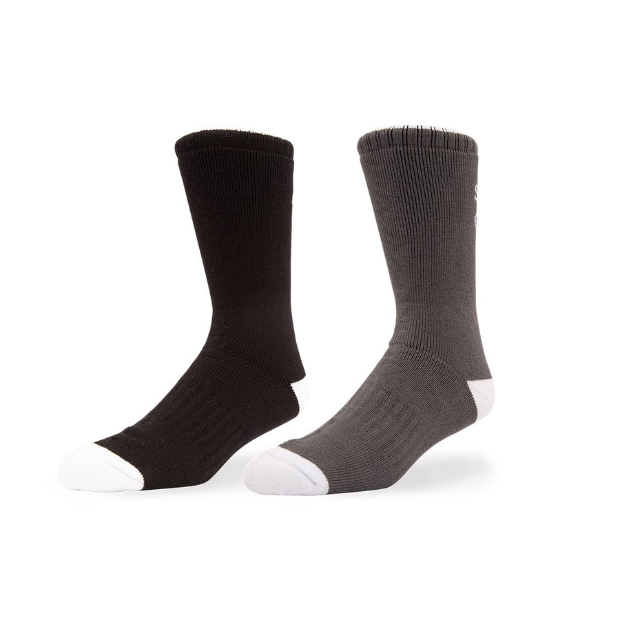 Salty Crew Mens Deckhand 2 Pack Socks - Black/Grey, Apparel Accessories, Salty Crew, Socks, + Men's deck sock+ Anti-microbial with moisture management+ Heavy-weight sock + Colors: Black and Grey+ 90% bamboo / 8% nylon / 2% elastane