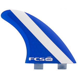"FCS Arc PC Large Tri Fin Set - Blue, Surf Accessories, FCS, Tri Fin, For fast on-rail surfing. The smaller centre fin offers quick release through turns. SIDE:Base:4.​​​61"" / 11​7mmDepth: 4.​​70"" / 11​​​9mmArea: 1​5.63""² / ​​10083mm²Sweep: 36.3ºFoil: FlatCENTRE:Base: 4.​​47"" / 11​​​4mmDepth: 4.​45"" / 11​​3mmArea: 1​​4.68""² / ​9469mm²Sweep: 3​8.6ºFoil: Flat"