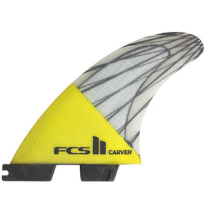 FCS II Carver PC Carbon Large Tri Set Fins - Yellow-FCS-Seaside Surf Shop