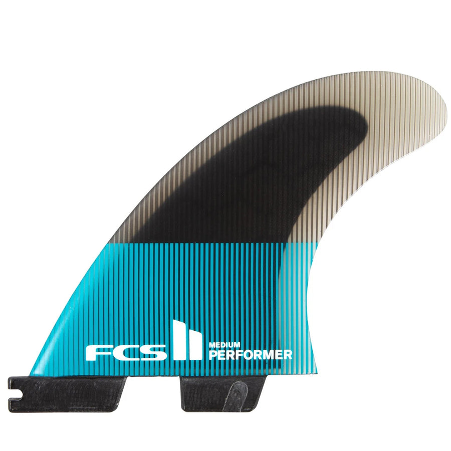 FCS II Performer PC Teal/Black Tri Fins - Large