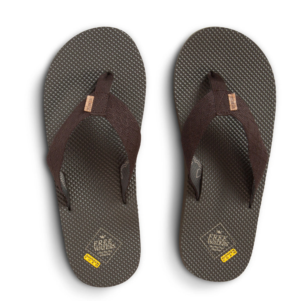 Freewaters Mens Supreem Sandals - Brown/Olive II - Seaside Surf Shop