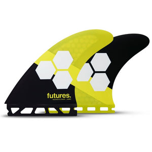'-Surf Accessories-Futures Fins - FAM2 HC Large Tri-Fin Set - Yellow/Black-Futures Fins-Seaside Surf Shop