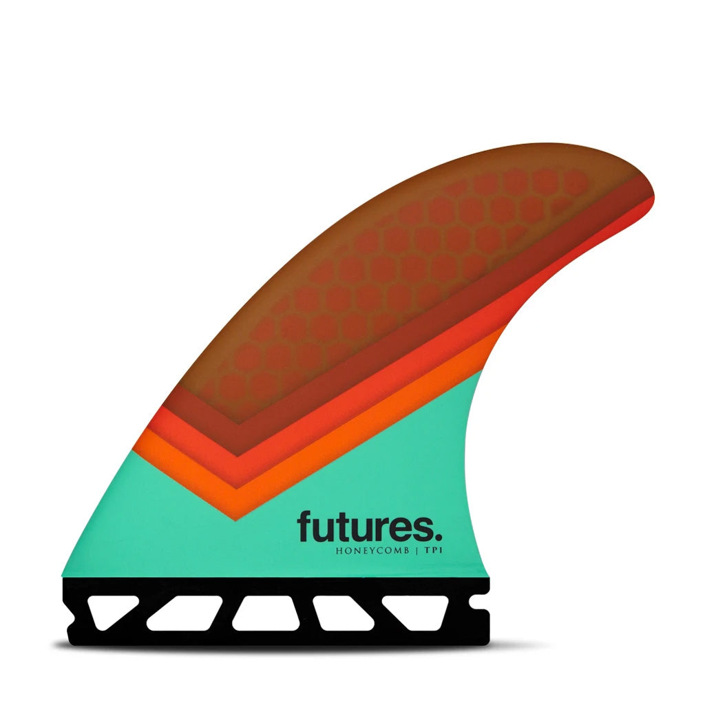 Futures Fins - TP1 HC Tri Fin - Teal/Orange/Brown - Seaside Surf Shop