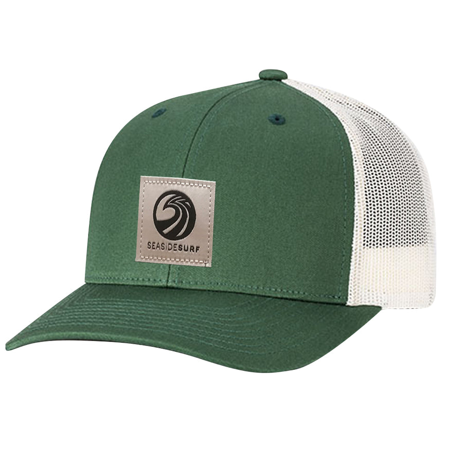 Seaside Surf Shop New Wave Logo Patch Cap - Dark Green/Birch, Apparel Accessories, Seaside Surf Shop, Snapback, New Trucker with pre curved bill made with cotton twill & mesh. This snapback cap fits mosts and features our newest woven label patch with new wave triple SSS logo. Seaside Surf Shop....lives forever.