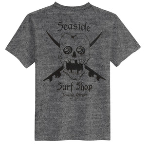 Seaside Surf Shop Mens Skull Tee - Heather Grey, Apparel, Seaside Surf Shop, Mens Tees, Skulls and surfboards on a Seaside Surf Shop T-shirt. What could be more natural than that?