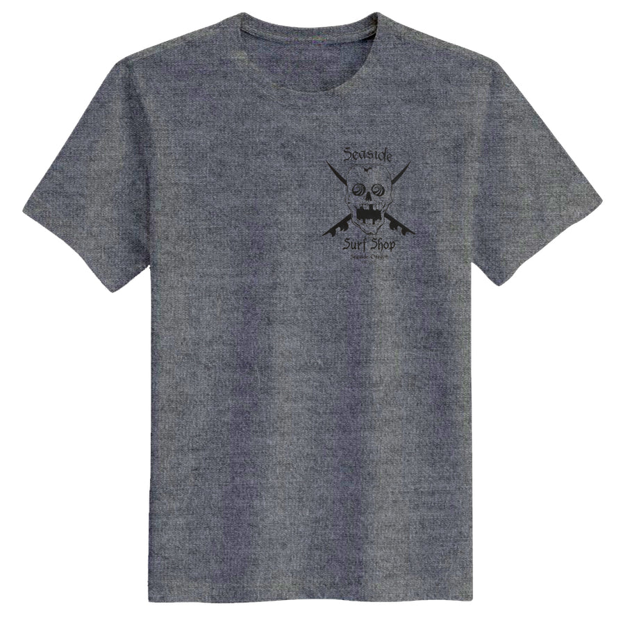 Seaside Surf Shop Mens Skull Tee - Heather Grey
