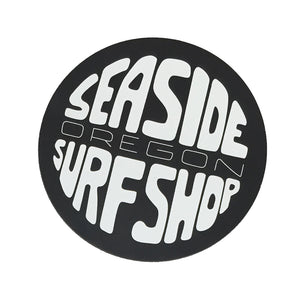 Seaside Surf Shop - Gumball Logo Magnet - White/Black, Seaside Surf Accessories, Seaside Surf Shop, Seaside Surf Shop, New Wave Logo Magnet . Measures approx 3(h) x 3(w).