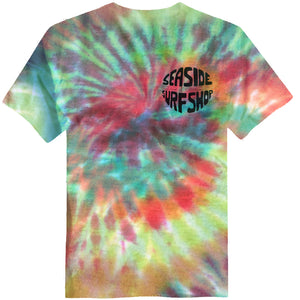Seaside Surf Shop Mens Gumball Tee - Tie Dye, Apparel, Seaside Surf Shop, Mens Tees, Womens Tees, Just a groovy tee screened with our latest wave minded viewpoint now in tie dye colors. Hand made in store by the Surf Shop mermaids! Whoah man!Product varies in design - you can request a general hue which we will try to match as best as we can.
