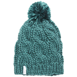 Coal The Rosa Cable Knit Silky Pom Womens Beanie - Evergreen