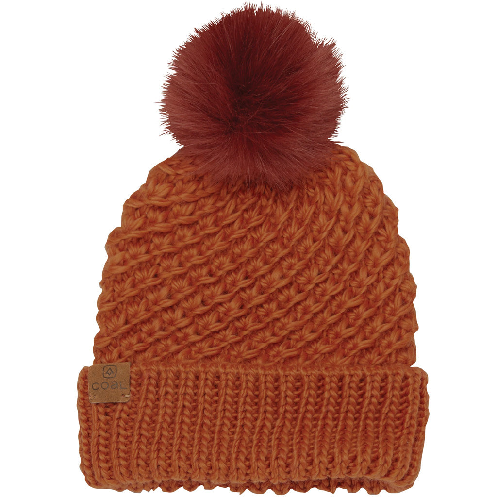 Coal The Maizy Knit Faux Fur Pom Womens Beanie - Amber - Seaside Surf Shop