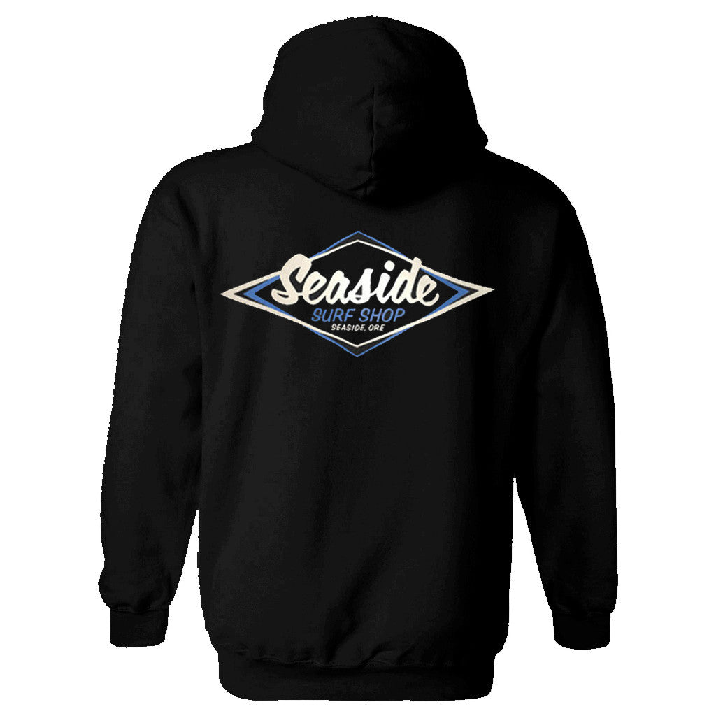 Seaside Surf Shop Mens Vintage Logo Pullover - Black