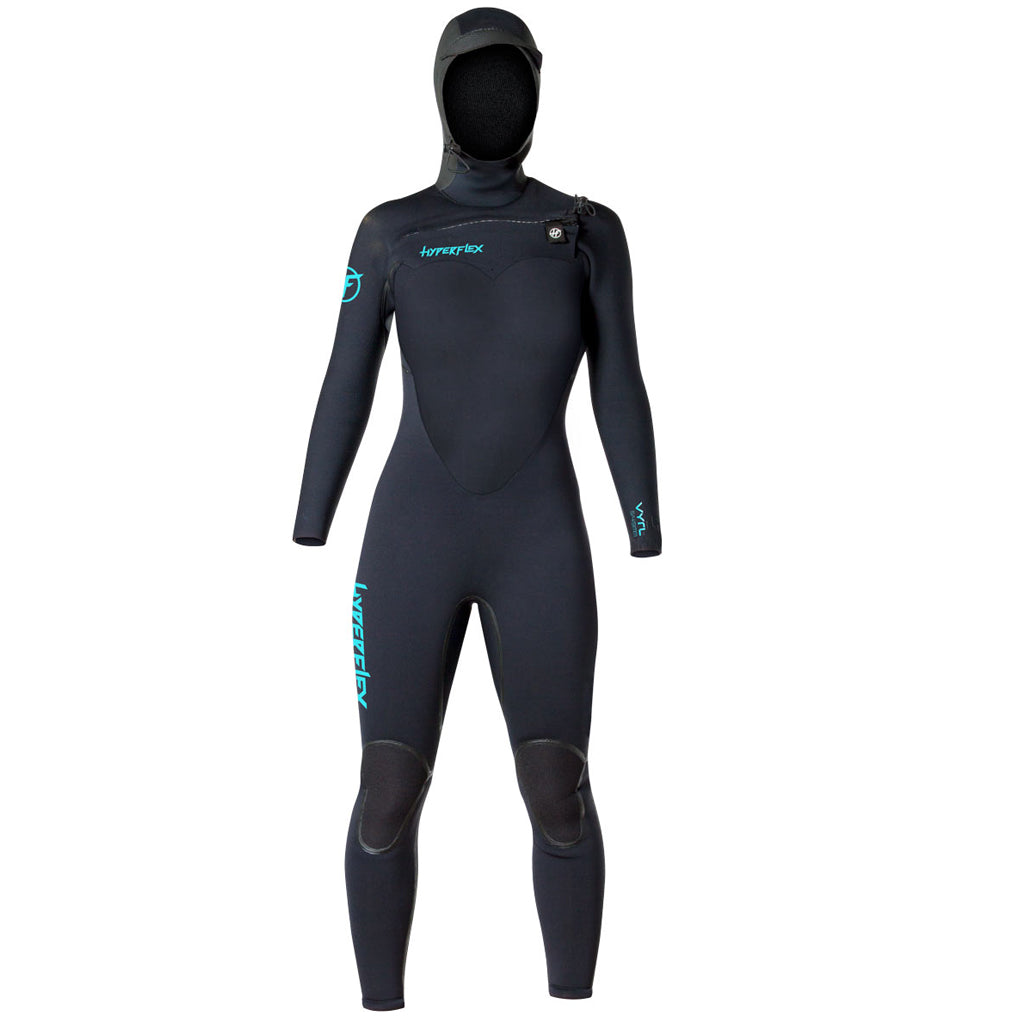 Hyperflex VYRL Womens 5/4mm Hooded Front Zip  Fullsuit - Black - Seaside Surf Shop