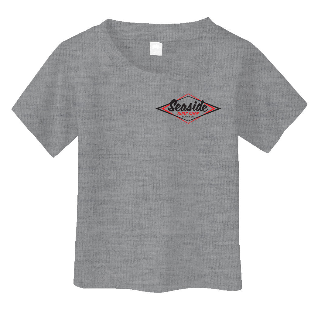 Seaside Surf Shop Toddler Vintage Logo Tee - Heather Grey