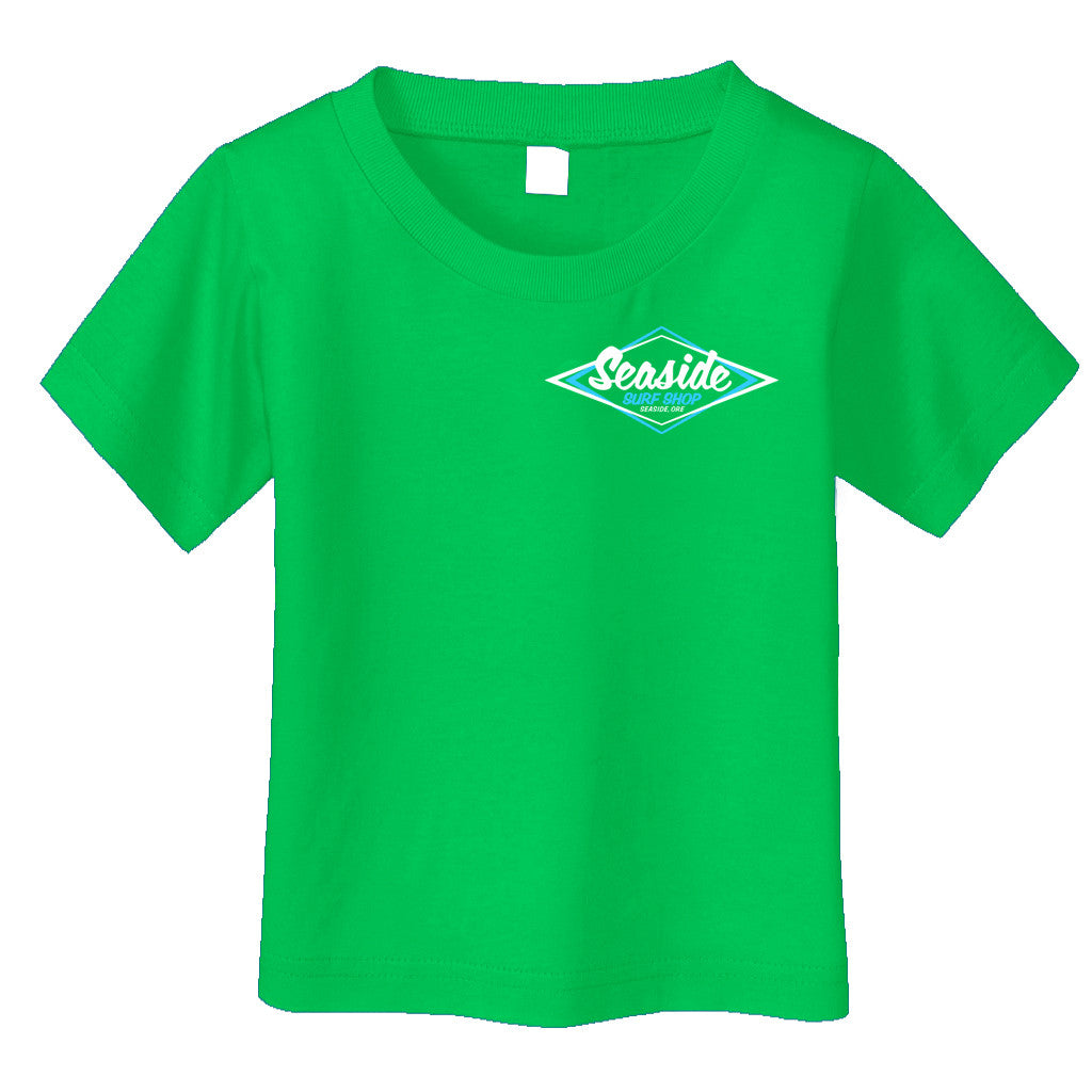 Seaside Surf Shop Toddler Vintage Logo Tee - Kelly Green