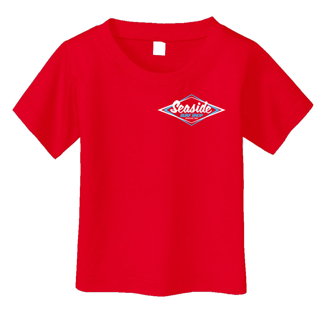 Seaside Surf Shop Toddler Vintage Logo Tee - Red - Seaside Surf Shop