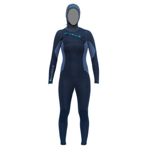 Isurus Ember Womens 454 Hooded Chest Zip Wetsuit-Isurus Wetsuits-Seaside Surf Shop