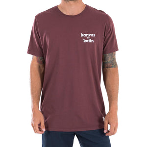 "Katin Mens K-Man Tee - Deep Red, Apparel, Katin USA, Mens Tees, Paying homage to the iconic 1960s Katin ""K-Man"" graphic, Katin brings you the exclusive K-Man tee collection. Embracing authentic Southern California surf culture and the legendary Katin story since 1954, this K-Man graphic tee unites the past with the present for an exclusively classic yet contemporary look and fit. 100% organic 30 singles cottonGarment dyed with enzyme washOriginal ""K-man"" illustration Made in the USA"