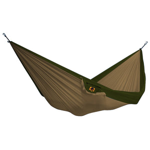 Ticket to the Moon Double Hammock - Khaki/Army Green, Outdoor, Ticket to the Moon, Hammocks, Ticket to the Moon Double Hammock. Brainstormed in Bali back in '96, Ticket to the Moon developed a durable, elastic, breathable, anti mildew, and skin friendly hammock thats been tried and tested true in all climates around the world. They come in a small pouch easily carried. You can provide your own strap system or get TTTM's Tree Safe Straps for use with the Hammock.