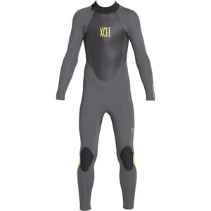 Xcel Axis X Youth's 5/4mm Backzip Wetsuit - Jet Black/Lemon Ale-Xcel Wetsuits-Seaside Surf Shop