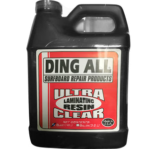Ding All Ultra Clear Laminating Resin - 1 Quart, Surf Accessories, Blocksurf, Polyester Sanding Resin, Ding All Ultra Clear Sanding Resin will ship only to addresses in the contiguous 48 states at this time, due to the chemical nature of our products we can only ship via Ground. We do not ship to Post Office Boxes-items may be shipped separately if you have multiple items on order.This comes with a small .25 oz vial of catalyst for quicker setting.