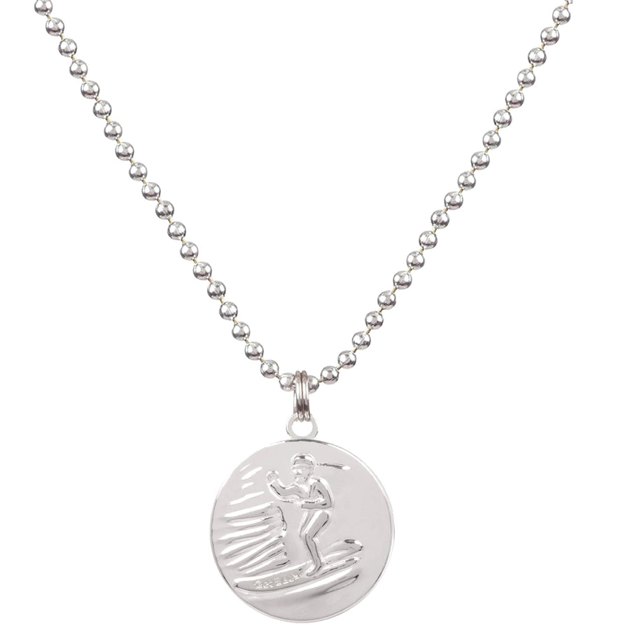 Saint Christopher Large Medal - Silver/Black