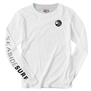 Seaside Surf Shop Mens New Wave Logo L/S Printed Sleeve Tee - White