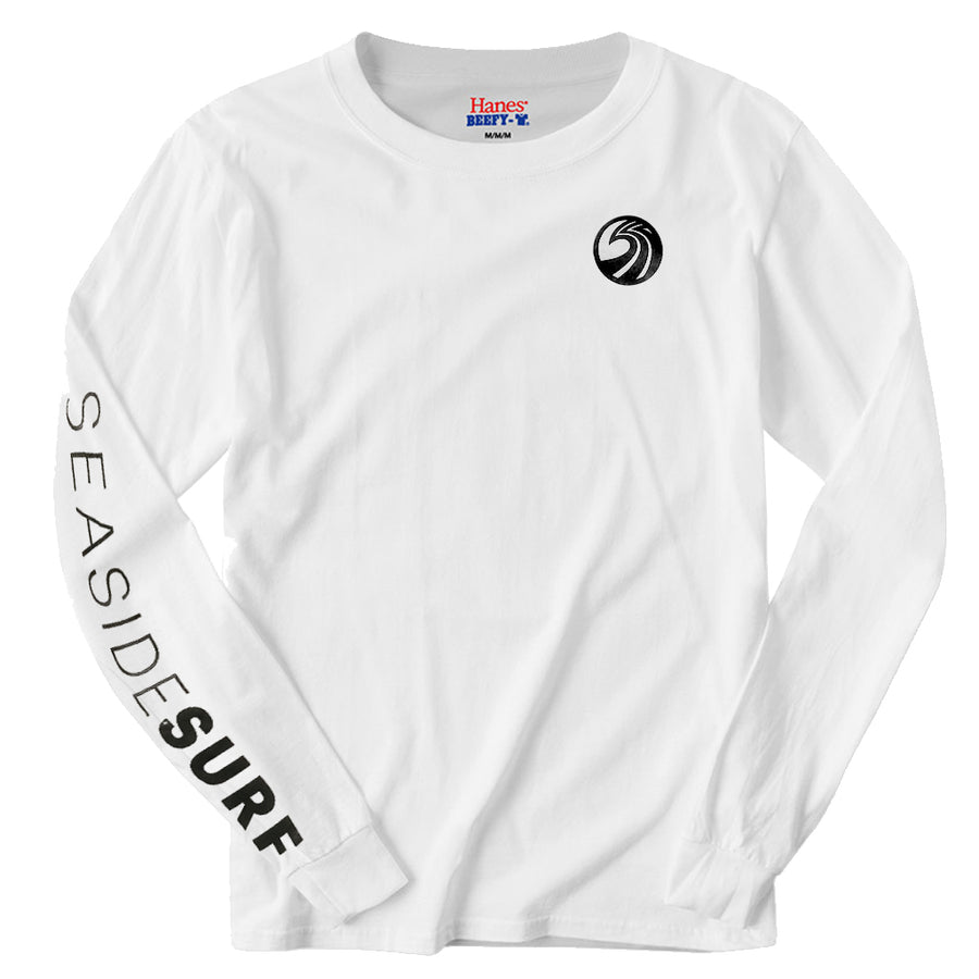 Seaside Surf Shop Mens New Wave Logo L/S Printed Sleeve Tee - White, Apparel, Seaside Surf Shop, Mens L/S Tees, Seaside Surf Shop Long Sleeve featuring sleeve print with shop new wave logo - new colors, new rep, new party.