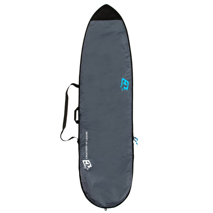 "Creatures Longboard Lite Bag - Charcoal/Cyan, Surf Accessories, Creatures of Leisure, Creatures of Leisure, 2018-19 - Protect ya neck, and your log. Plush 5mm closed-cell foam and a shoulder carry strap are standard issue. Heat-reflecting silver side keeps it cool. Fits all types of longboards. The 8'6"" and up also have a zipper for fins. The Creatures of Leisure Longboard Lite bag holds 1 board."
