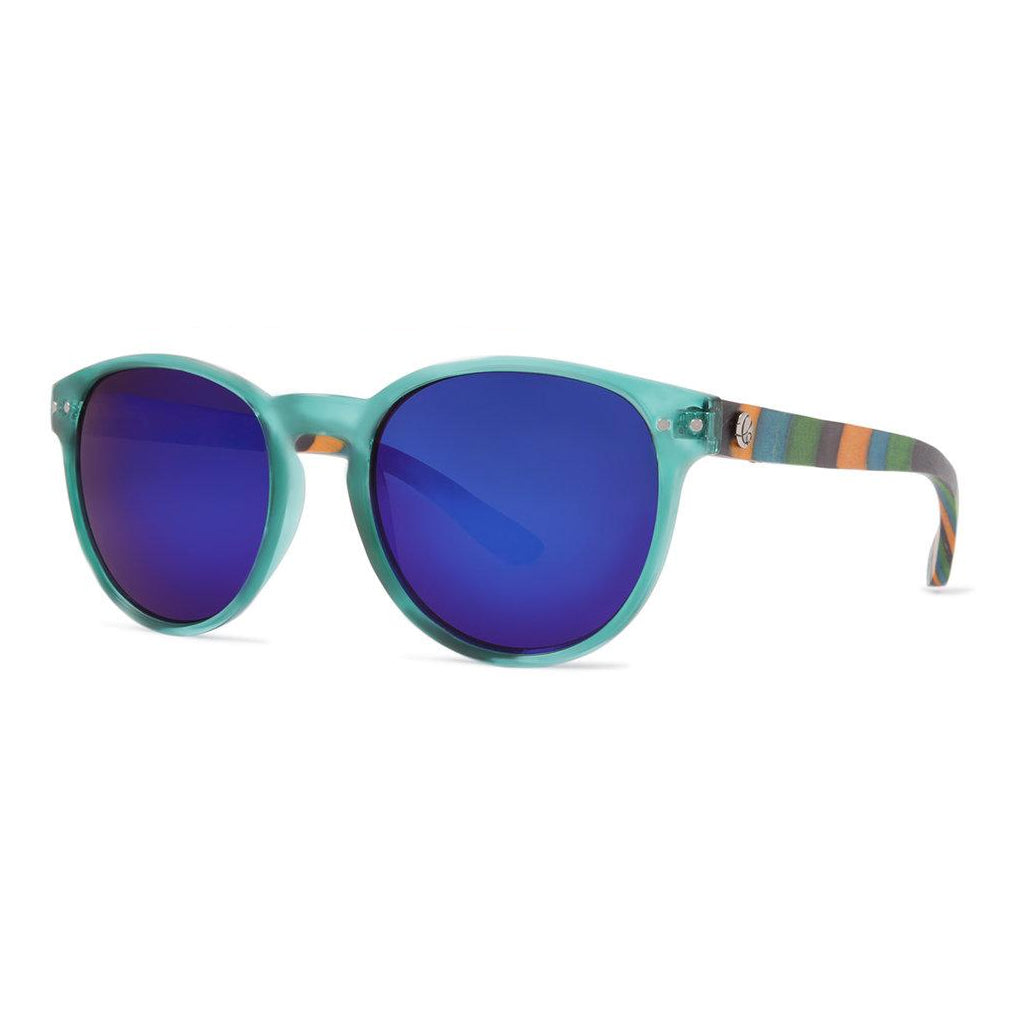 Sonnenbrille Crusheyes Lotus gloss turquoise color wood RenLsY7