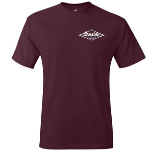 Seaside Surf Shop Mens Vintage Logo Tee - Maroon
