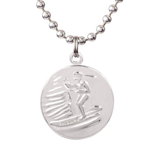 "Saint Christopher Medium Medal - Silver/ Black, Jewelry, Get Back Supply, St Christopher Medals, 3/4"" diameter. .24"" aluminum ball chain (can be shortened by cutting).Embossed back with tiny Get Back which ensures authenticity.Silver plated medallion.Care: Rinse with fresh water and wipe dry after wearing in ocean, pool etc."