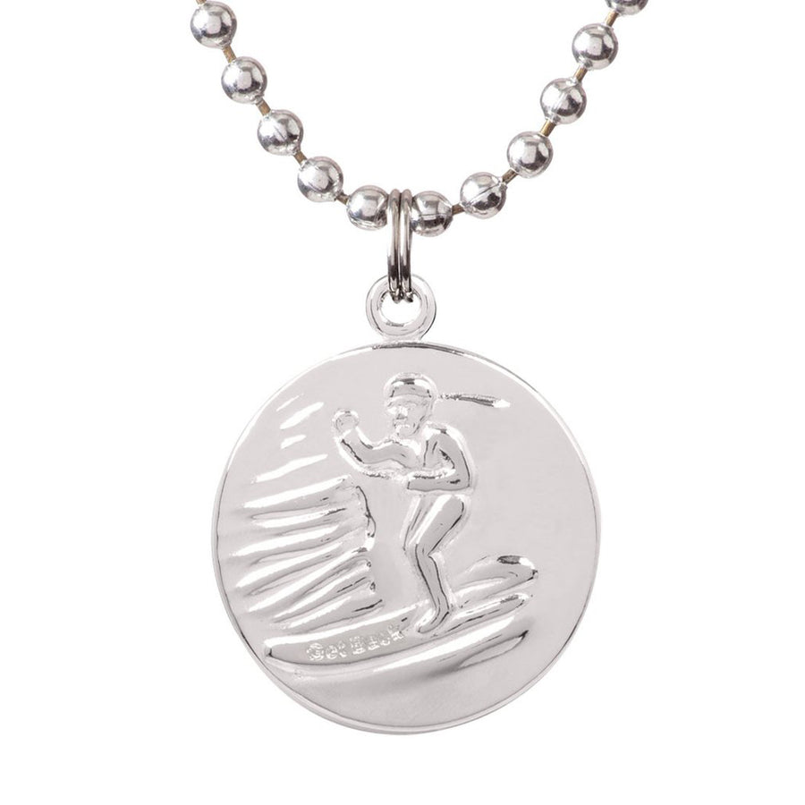 "Saint Christopher Medium Medal - Silver/Teal, Jewelry, Get Back Supply, St Christopher Medals, 3/4"" diameter. .24"" aluminum ball chain (can be shortened by cutting).Embossed back with tiny Get Back which ensures authenticity.Silver plated medallion.Care: Rinse with fresh water and wipe dry after wearing in ocean, pool etc."