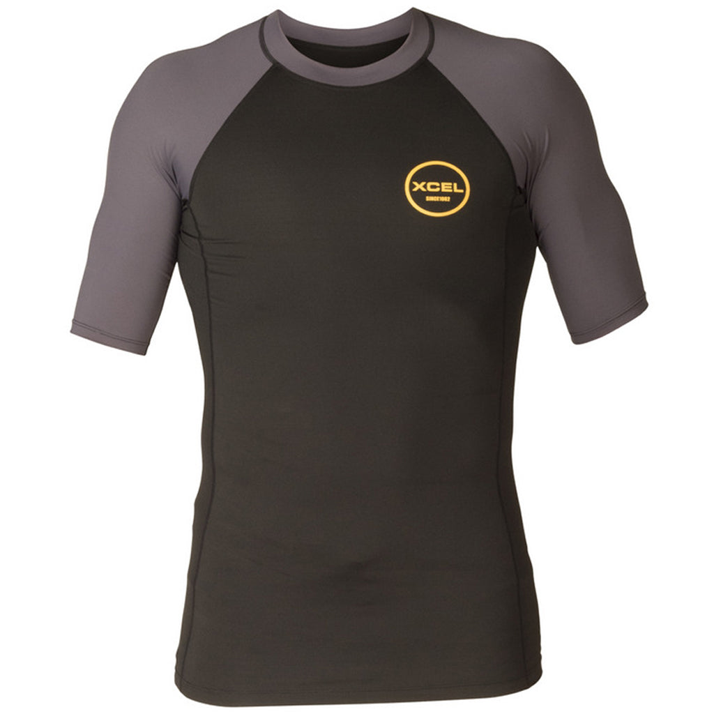 Xcel Alex S/S  Rashguard UV Layer - Black/Deep Grey - Seaside Surf Shop