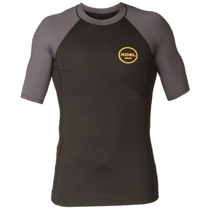 Xcel Alex S/S Rashguard UV Layer - Black/Deep Grey-Xcel Wetsuits-Seaside Surf Shop