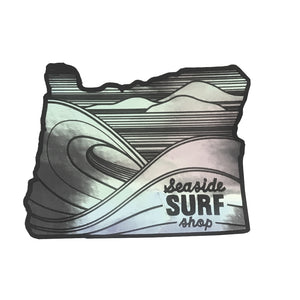 Seaside Surf Shop - Oregon Sticker - 3X2 Metallic